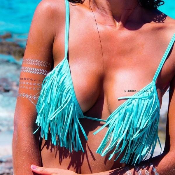 Guadalupe Cid - bikinis con flecos verano 2017