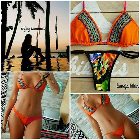 bikini naranja con bordado etnico verano 2018 lamaja