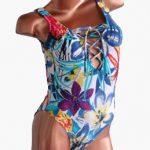 Bea trajes de baño verano 2018 enteriza estampada escote con cordon