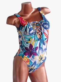 Bea - trajes de baño verano 2018 - enteriza estampada escote con cordon