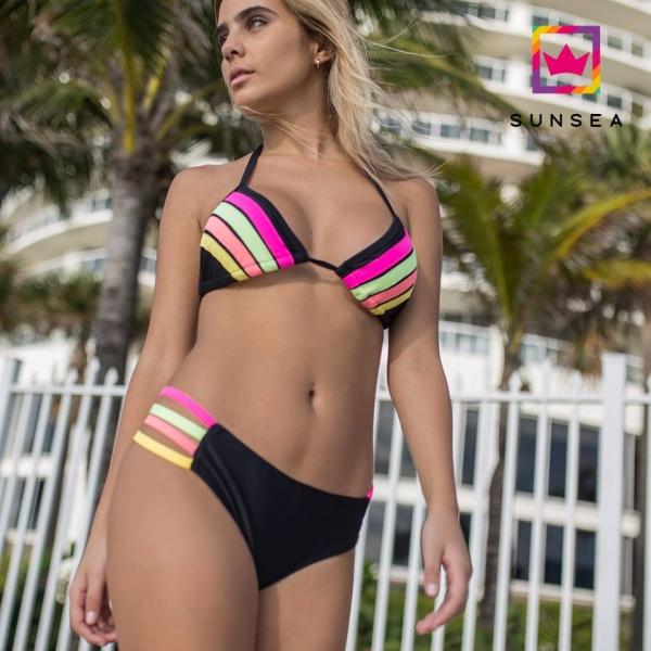 bikini con rayas de colores Sunsea verano 2018