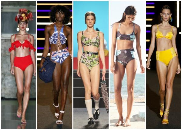 bikinis tiro alto - moda en trajes de baño verano 2019