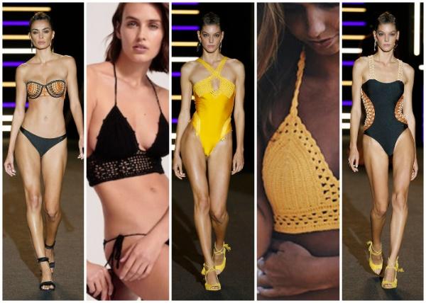 bikinis y enterizas tejidas a crochet - moda en trajes de baño verano 2019