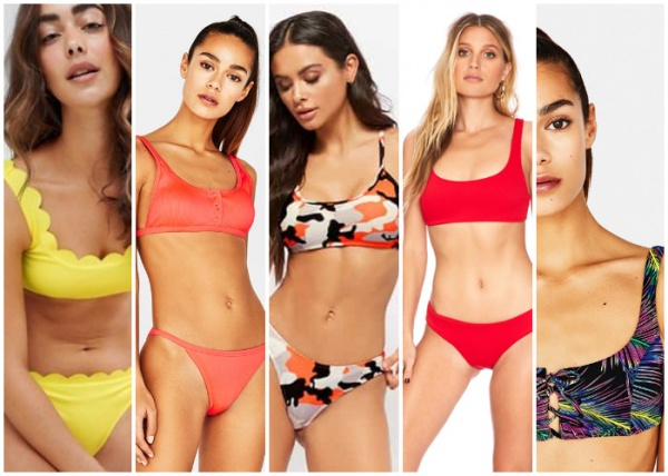 malla estilo deportivo escote redondo - moda en trajes de baño verano 2019
