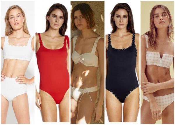 mallas con tiras anchas - moda en trajes de baño verano 2019