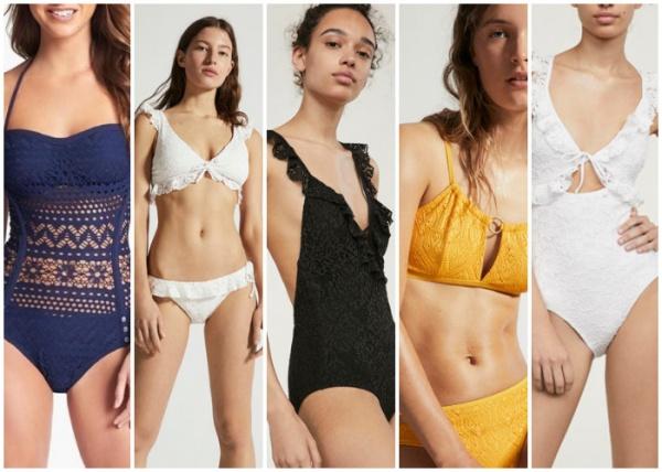 mallas de encaje y broderie - moda en trajes de baño verano 2019