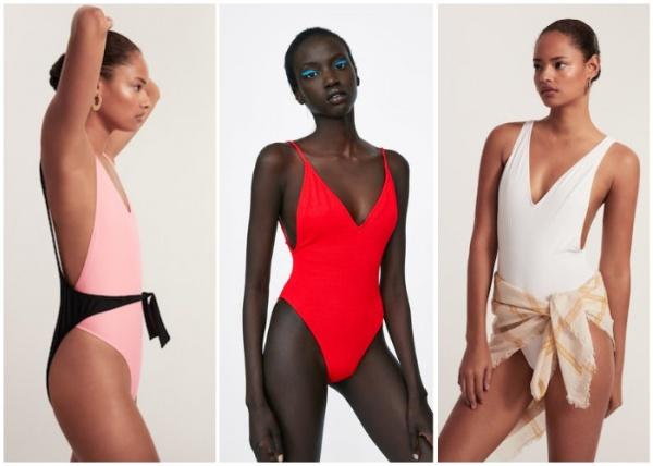 mallas enterizas escote lateral - moda en trajes de baño verano 2019
