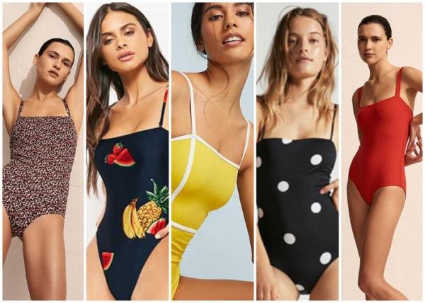 mallas enterizas escotes rectos - moda en trajes de baño verano 2019
