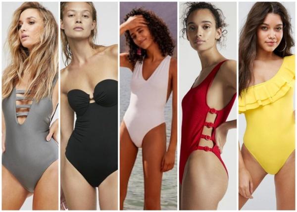 mallas enterizas lisas - moda en trajes de baño verano 2019