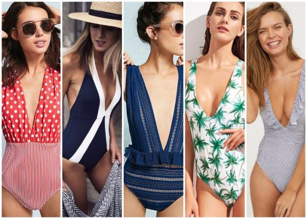 mallas escotes profundos - moda en trajes de baño verano 2019