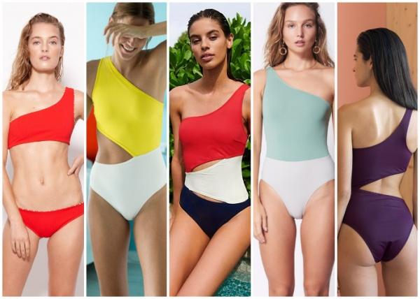 mallas recorte irregular un solo hombro - moda en trajes de baño verano 2019