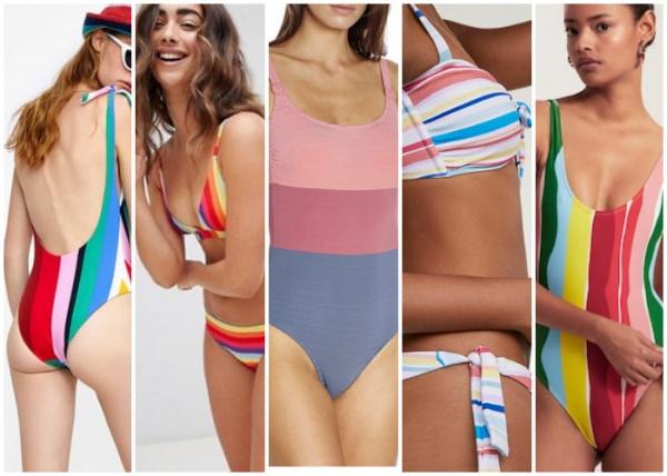 rayas mulricolores - moda en trajes de baño verano 2019
