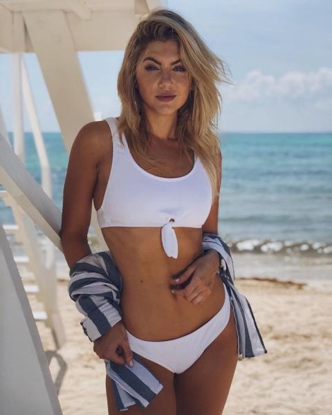 buscar original comprar lujo comprar baratas bikini blanco tiras anchas escote redondo trajes de baño Luz ...