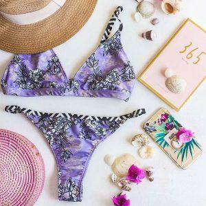 bikini combina lunares con estampa lila love africa verano 2019