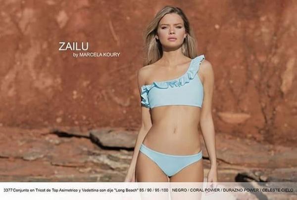 bikini un hombro celeste verano 2019 by Zailu