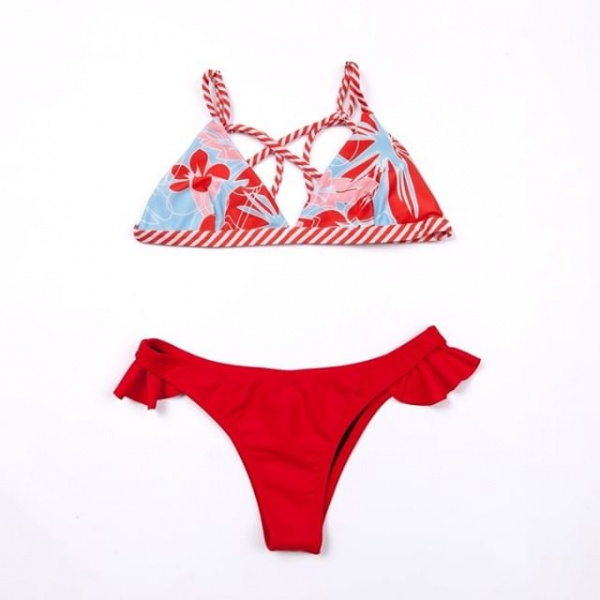 bikini roja y celeste estampada verano 2019 - Anna Bikini