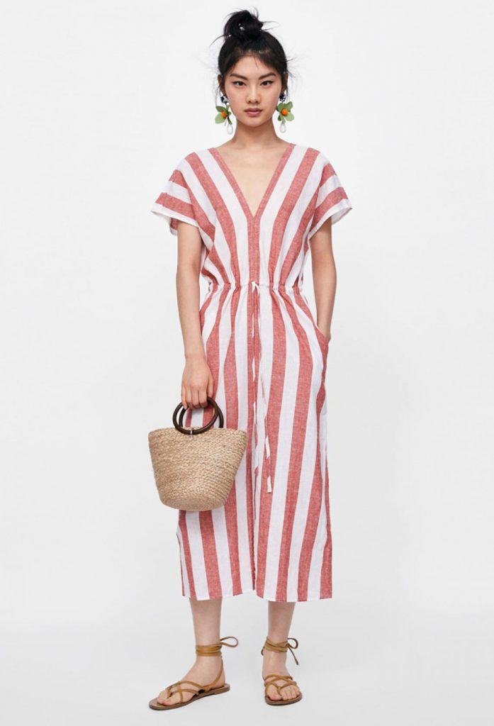 Vestido de lino a rayas de ZARA