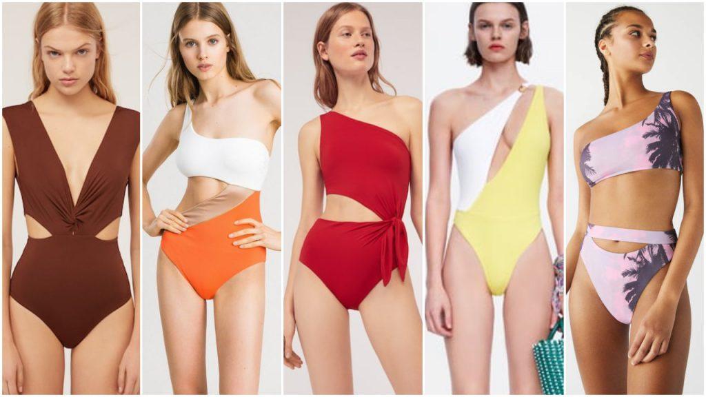 Trajes de baño Mallas enterizas y bikinis asimetricas verano 2020