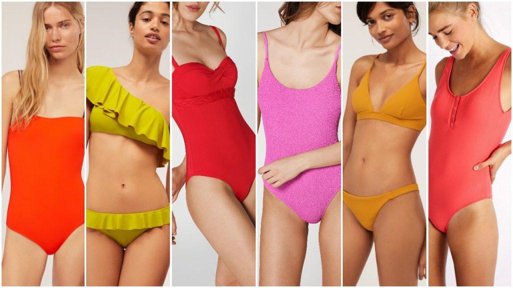 Trajes de baño colores alegres y fuertes para Mallas enterizas y bikinis verano 2020