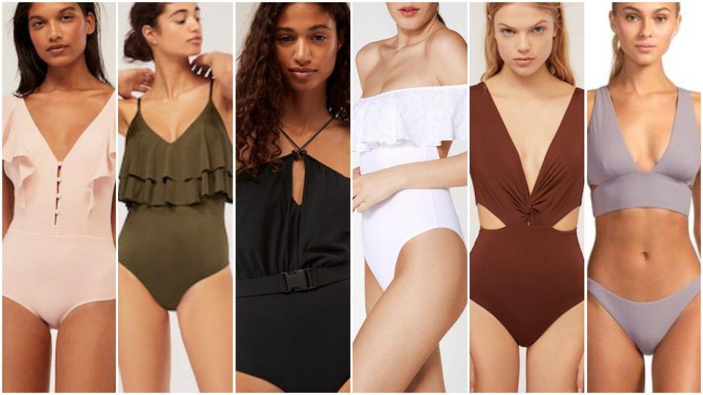 Trajes de baño colores neutros y basicos para Mallas enterizas y bikinis verano 2020