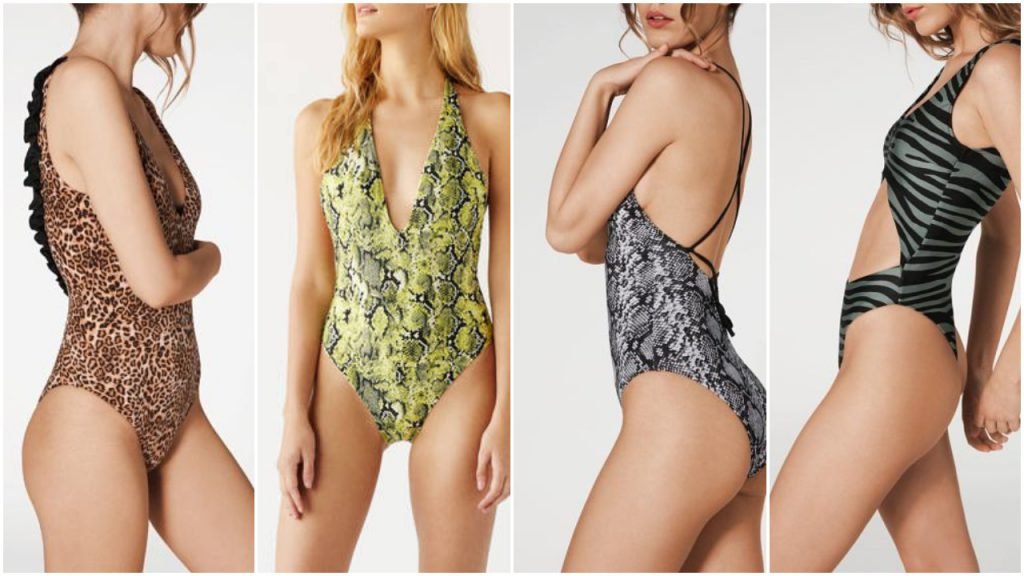 Trajes de baño estampas animal print Mallas enterizas y bikinis verano 2020