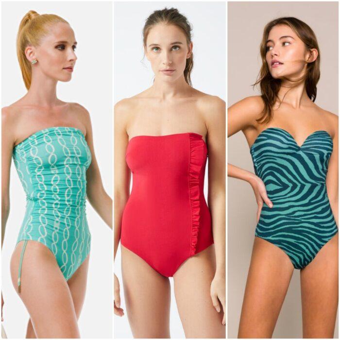 trajes de baño enterizo strapless verano 2021 Argentina