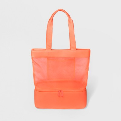 bolsa color coral neon para playa imperneable