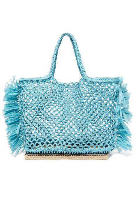bolsa playa rectangular tejido a crochet con base de mimbre