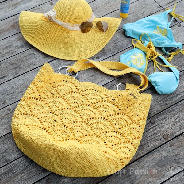 bolso crochet amarillo para playa