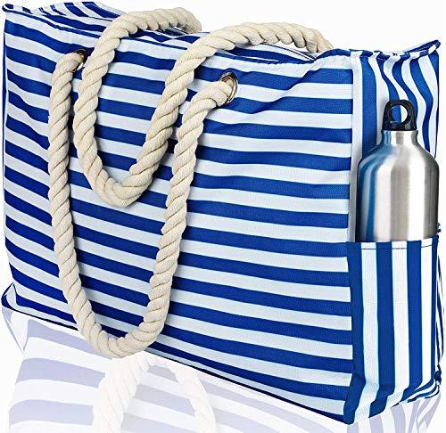 bolso de playa a rayas