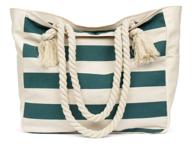 bolso de playa de lona con asas de cuerda