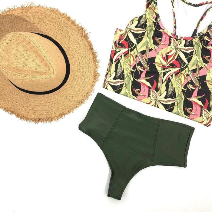 bikini estampado floral verde militar verano 2021 Anna Bikinis
