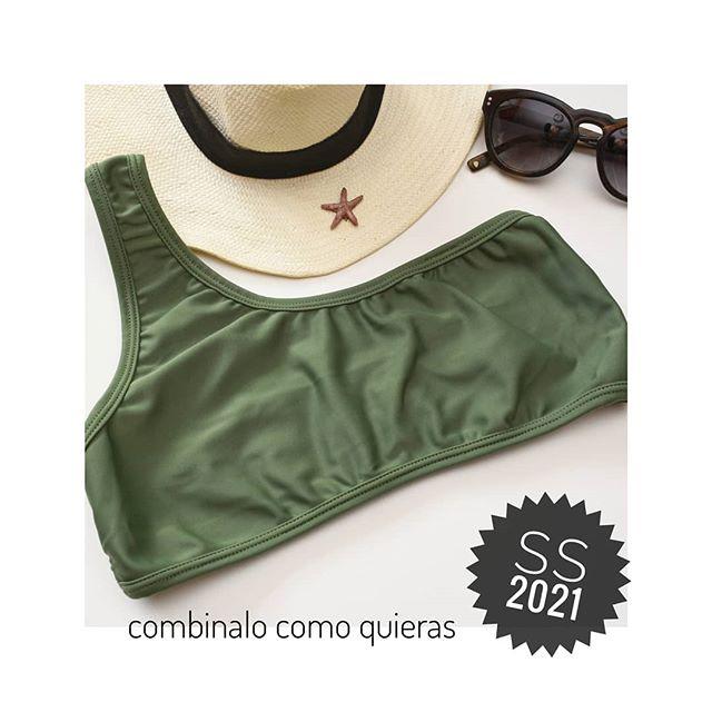 bikini un solo hombro verde militar verano 2021 Coloma