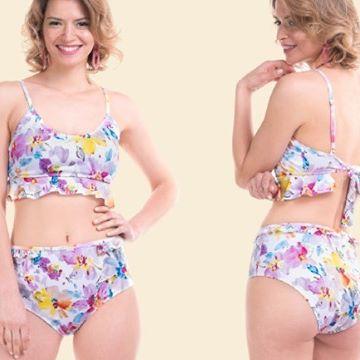 bikini floresada tiro alto verano 2021 Adorarte